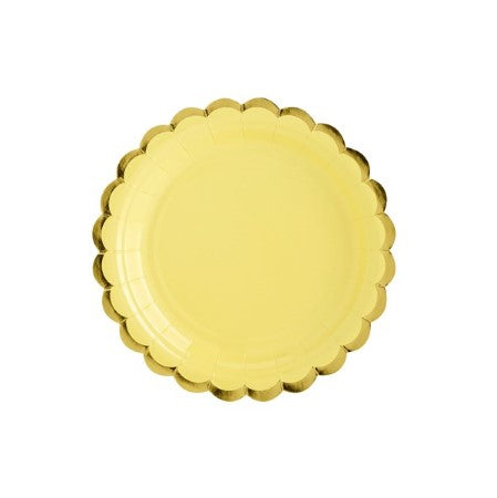 Small Yellow Plates with Gold Scalloped Edge I My Dream Party Shop I UK