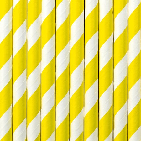 Yellow and White Striped Paper Party Straws I My Dream Party Shop I UK