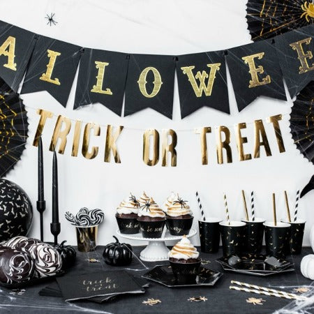 Halloween Trick or Treat Gold Foil Banner - My Dream Party Shop