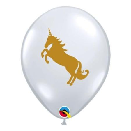 Qualatex Diamond Clear With Gold Unicorn Balloons x 25 I My Dream Party Shop I UK