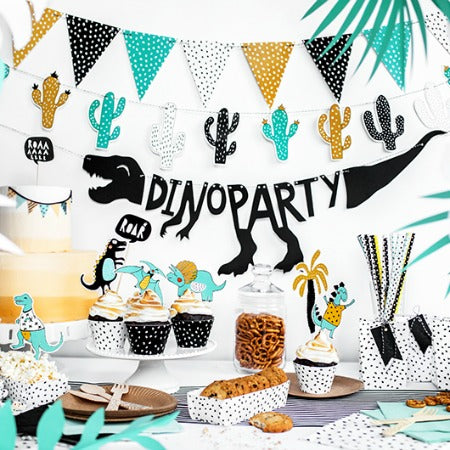 Black Dino Party Banner I Cool Dinosaur Party Tableware & Decorations I My Dream Party Shop I UK