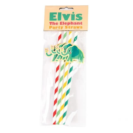 Elvis the Elephant Straws I Modern 1st Birthday Tableware I My Dream Party Shop UK