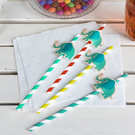 Elvis the Elephant Straws I Modern First Birthday Tableware I My Dream Party Shop UK