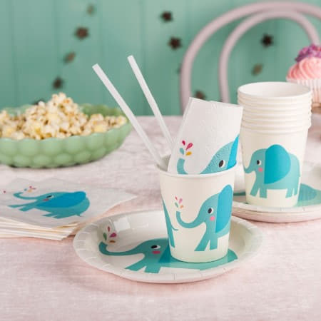 Elvis the Elephant Cups I Baby Shower Tableware I My Dream Party Shop UK