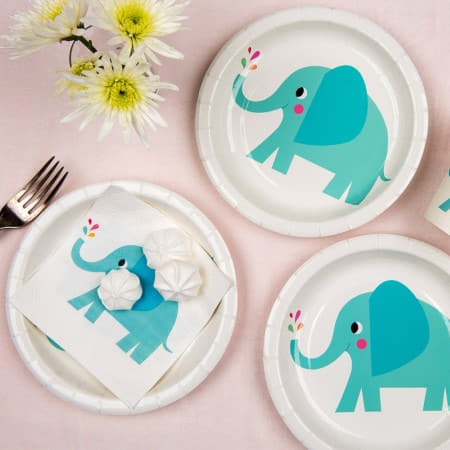 Elvis the Elephant Plates I Baby Shower Tableware I My Dream Party Shop