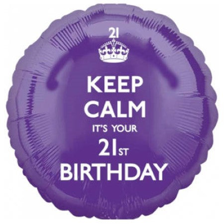 Purple Keep Calm Its Your 21st Birthday Balloon I 21st Birthday Party I My Dream Party Shop