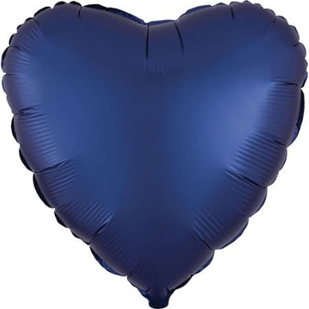 Satin Luxe Navy Blue Heart Foil Balloon I Modern Party Balloons I My Dream Party Shop UK