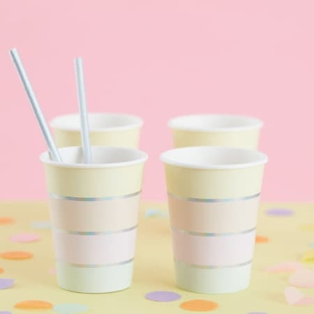 Pastel Stripe Cups I Modern Pastel Party Supplies I My Dream Party Shop UK