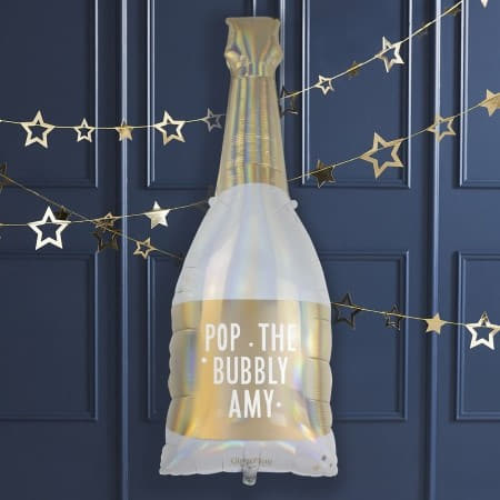 Personalised Champagne Bottle Balloon I Modern Foil Balloons I My Dream Party Shop UK