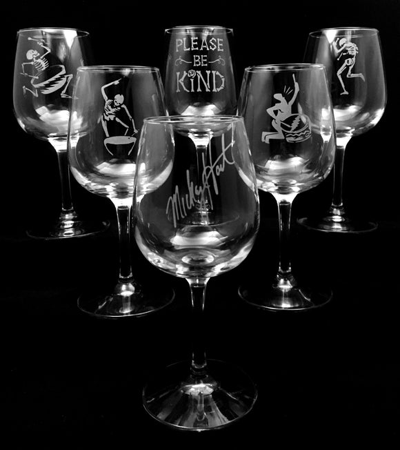 Hand Etched Mickey Hart Wine Glasses - Set of Six