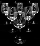 Hand Etched Wine Glasses - Pick Two
