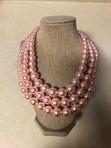 Three Strand Pink Pearl Set With Matching Earrings