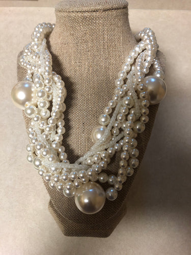 Three Twist Multi Strand Cream Pearl Set With Matching Earrings