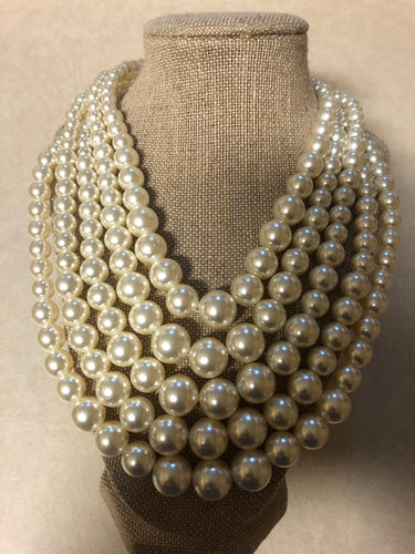 Five Strand Cream Pearl Set With Matching Earrings