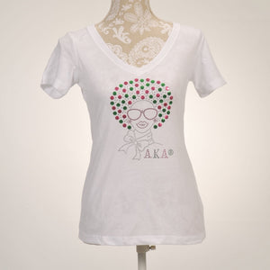 AKA Afro Lady V-Neck Shirts