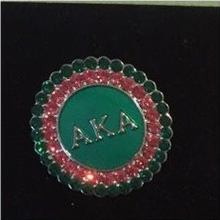 AKA Pink and Green Round Rhinestone Pin