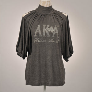 AKA Silver Soror Cold Shoulder Top