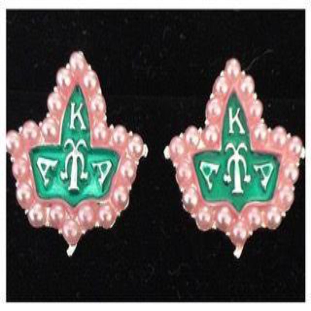 AKA Pink Pearl & Green IVY earrings.