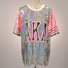 Load image into Gallery viewer, AKA Silver/Pink Ivy Sequin Jersey - Pre Order