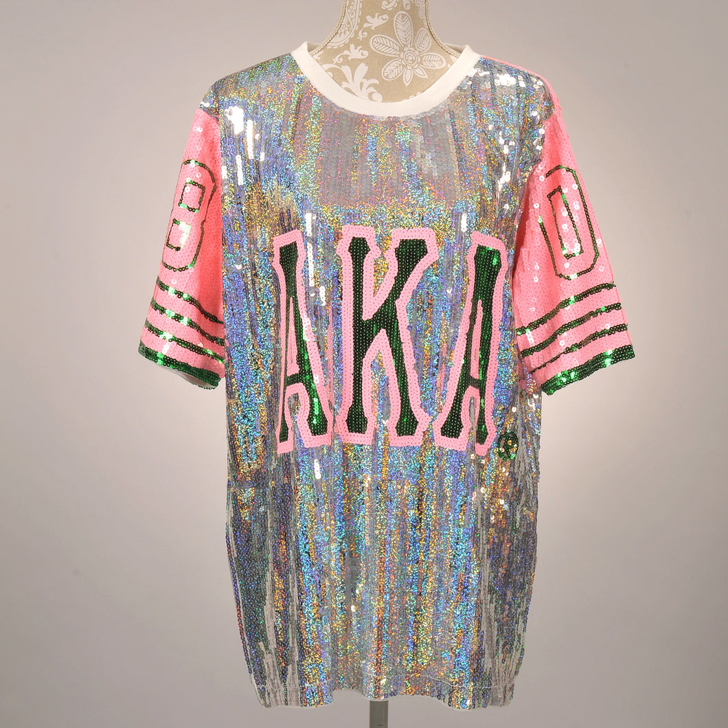 AKA Silver/Pink Ivy Sequin Jersey