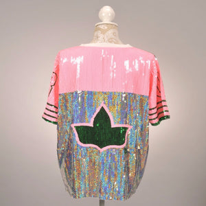 AKA Silver/Pink Ivy Sequin Jersey - Pre Order