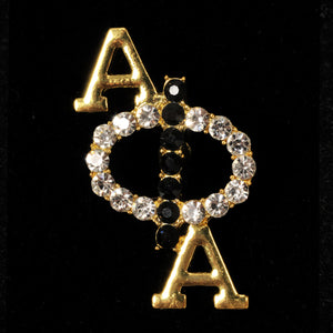 Alpha Phi Alpha Vertical Clear Crystal Pin