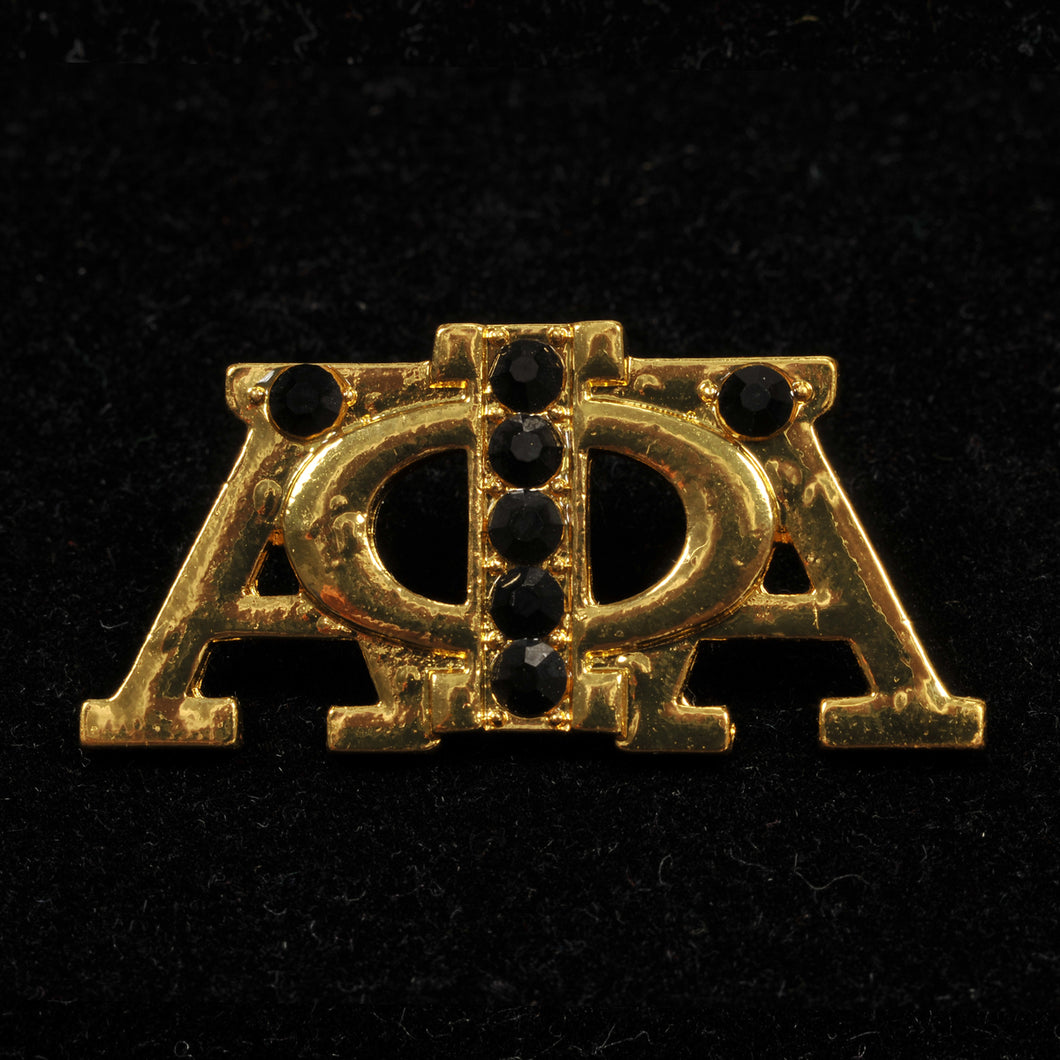 Alpha Phi Alpha Gold Black Crystal Pin