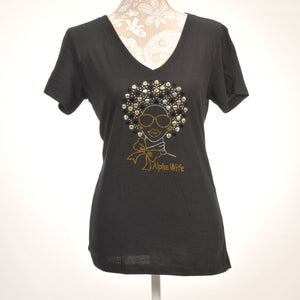 Alpha Wife Rhinestone Afro Shirt