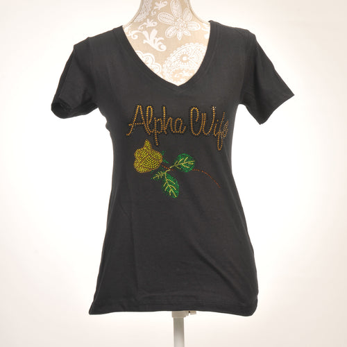 Alpha Phi Alpha Wife Rhinestone Rose Shirt