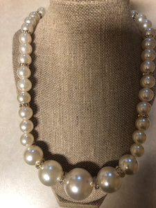 Cream Pearl Rhinestone Set With Matching Earrings