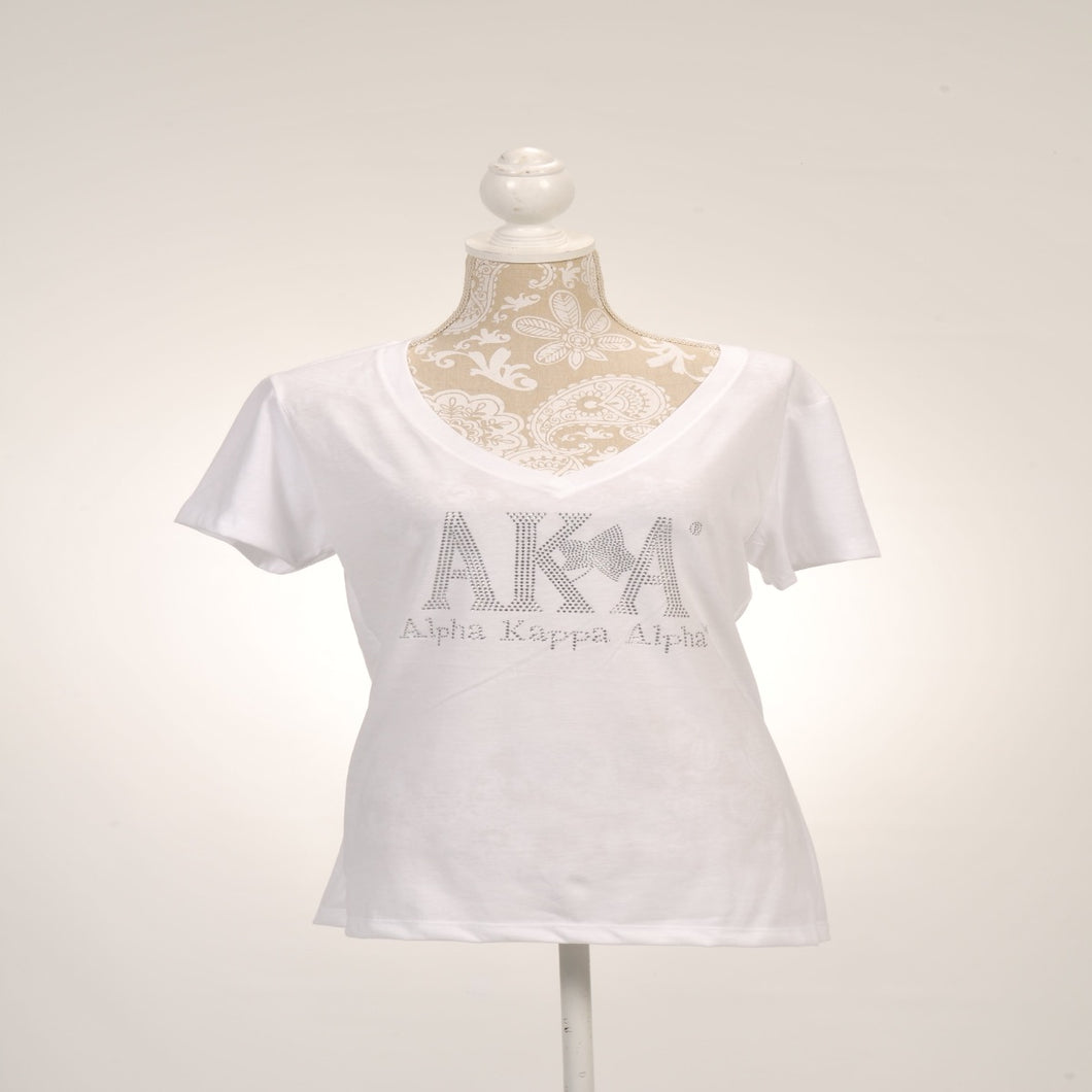 AKA Ivy Clear Rhinestone V-Neck Shirt