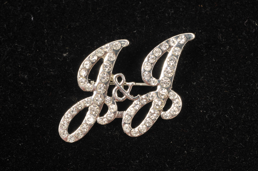 Jack and Jill J&J Rhinestone Pin