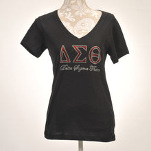 Load image into Gallery viewer, Delta Sigma Theta Script V-Neck T-Shirt