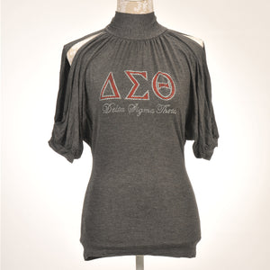 Delta Sigma Theta Cold Shoulder Top