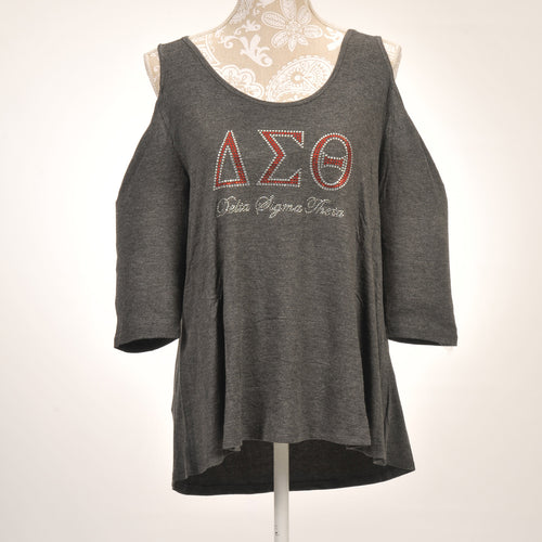 Delta Sigma Theta Quarter Sleeve Cold  Shoulder Top