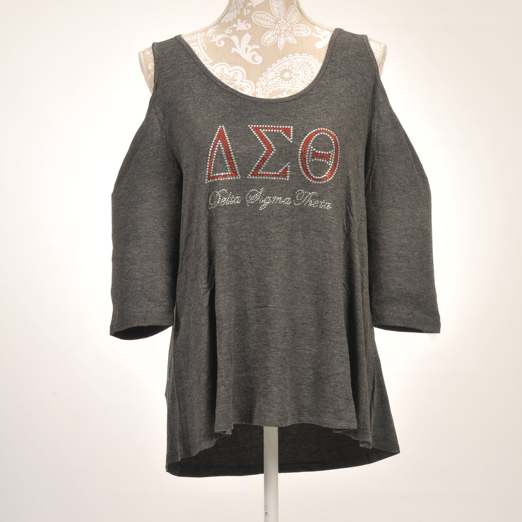 Delta Sigma Theta Sorority Incorporated Quarter Sleeve Cold  Shoulder Top