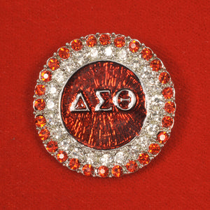 Delta Sigma Theta Sorority Incorporated Round Crystal DST Pin
