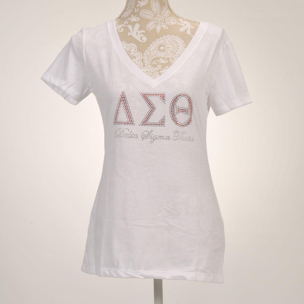 Delta Sigma Theta Sorority Incorporated V-Neck White T-Shirt