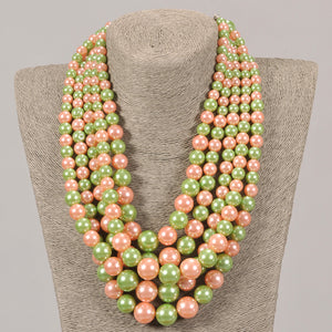 Five Strand Pink & Green Pearl Set With Matching Earrings