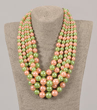 Load image into Gallery viewer, Five Strand Pink & Green Pearl Set With Matching Earrings