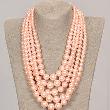 Load image into Gallery viewer, Five Strand Pink Pearl Set With Matching Earrings