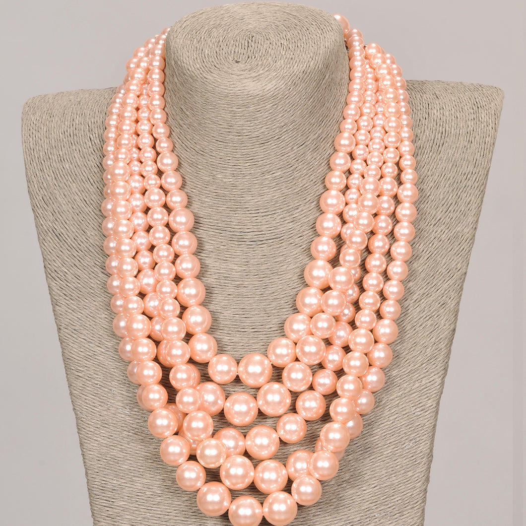 Five Strand Pink Pearl Set With Matching Earrings