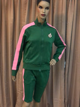Load image into Gallery viewer, Green & Pink Biker Shorts Sweatsuit