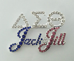 Jack and Jill Delta Rhinestone Pin
