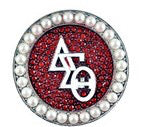 Delta Sigma Theta Red Rhinestone and Pearl DST Pin