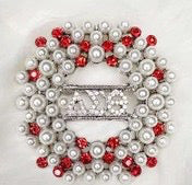 Delta Sigma Theta Round Red and Cream Pearl DST Pin