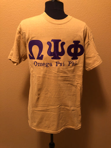 Omega Psi Phi Greek Old Gold Applique Cotton Tee