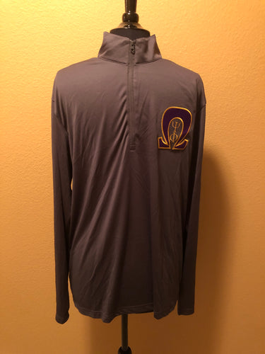 Omega Psi Phi  Gray Dry Fit Quarter Zip Pullover
