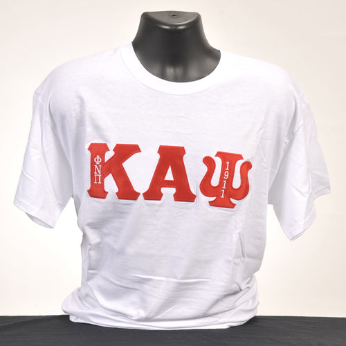 Kappa Alpha Psi White Applique Cotton T-Shirt