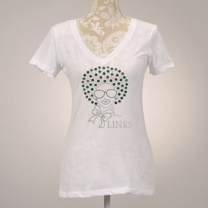 LINKS Afro White V-Neck T-Shirt